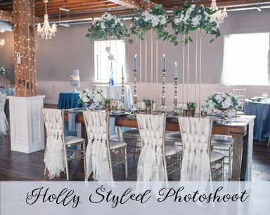 Styled Wedding Photoshoot: Dusty Blue & Gold in Holly Vault, Michigan
