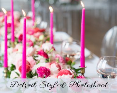 Styled Wedding Photoshoot: Coral, Pink & Red in Castle Hall, Detroit Michigan
